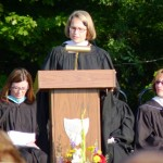 Principal Kristina Martineau addresses the audience (Photo courtesy of Burt Jaynes)