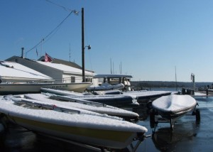 Snow on boats before launching (Photo courtesy of Bob Leary)