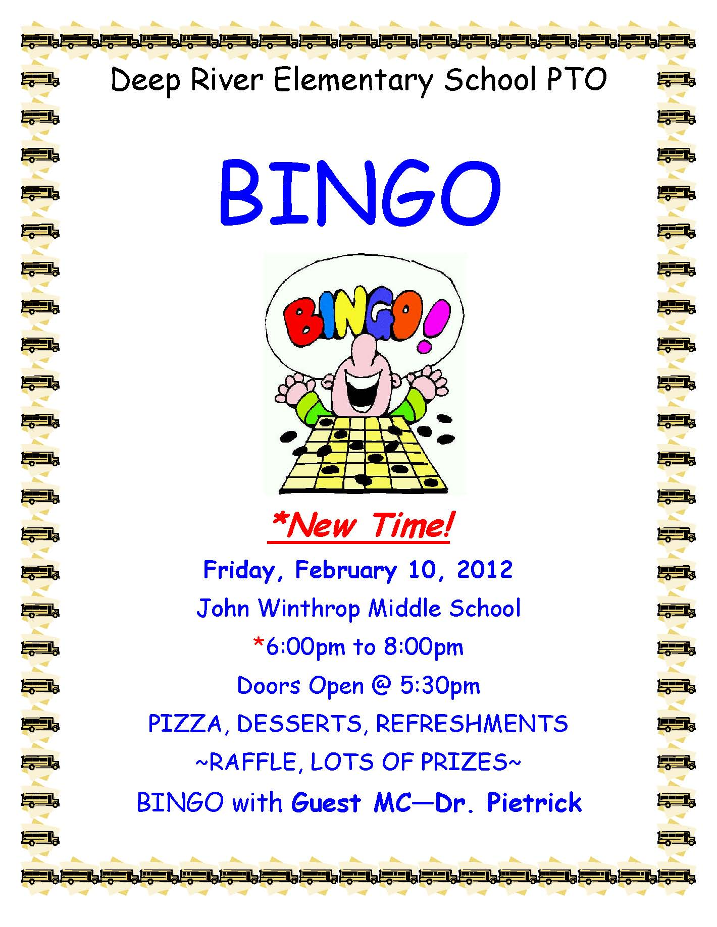 bingo night hosted by deep river elementary school pto