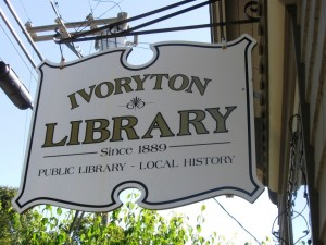 The outside sign of the Ivoryton Library
