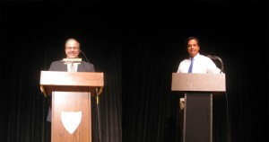 Republican candidate Vin Pacileo and Democratic candidate Representative Phil Miller at Tuesday's debate for the state House of Representatives (Photos by Jerome Wilson)