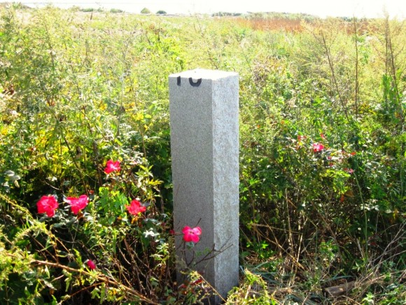 One of Sciame two gate posts crudely shortened to a height of four feet