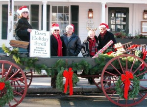 Essex Board of Trade Holiday Stroll Organizers (l-r): Donna Torza of Bell Flower Antiques, Emmy Cline of Scensibles , Mark Bombaci of Page Taft-Christies Real Estate, Judy Heiser of Essex Board of Trade and Jim D'Alessio of J. Alden Clothiers.