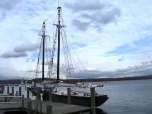 Museum's treasured schooner, the Mary E, sat out the story at Deep River marina (photo by Jerome Wilson)