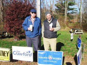 Democratic Party supporters, Peter Zanarei and Larry DiBernardo in Chester