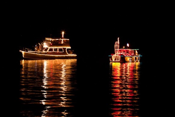 Essex's annual TREES IN THE RIGGING holiday celebration features a parade of festively-lit and decorated boats on the waterfront at the Connecticut River Museum (photo courtesy of Anthony Reczek).