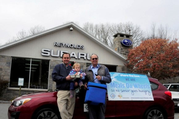 Hayden Reynolds, his daughter, Lilly and his father, Gary; three generations of the Reynolds family, personally delivered Meals on Wheels in Lyme