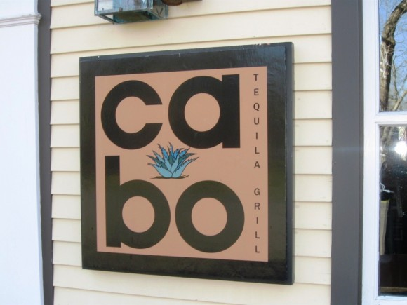 The eye catching sign of the Cabo restaurant on Water Street