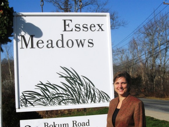 Jennifer Rannestad, Executive Director of Essex Meadows, at the entrance of Essex's premier retirement community