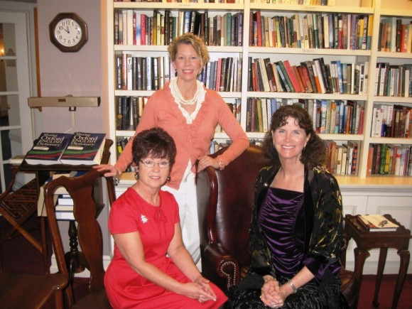 (l to r) Essex Meadow's senior staff: Angela Christie, Director of Resident Health; Susan Carpenter, Director of Marketing Services, and Kathleen Dess, Administrator of the Health Center,  in the Residents' library
