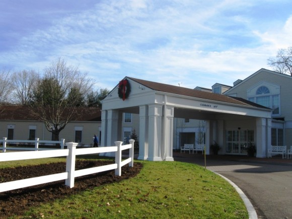 The impressive portico at the entrance of Essex Meadows