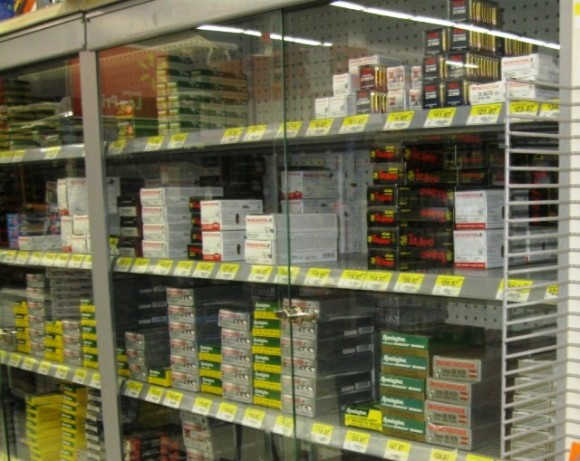 Cases of bullets for guns on sale at Walmart