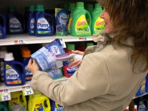 Second step: She selected an item, shot its barcode with the Scan It, then put the item in her basket. The Scan It kept full details.