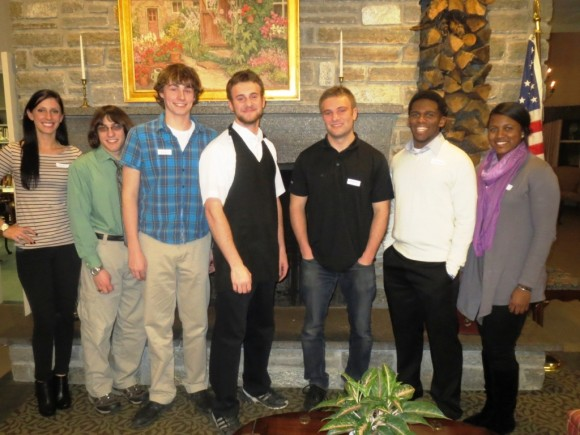 Kym Mayer, Graduate of Penn State University; Parker Hutchinson, University of New Haven; Don O'Boyle, UConn; Luke Chase, Cornerstone University; Gabriel Chase, Graduate of Wheaton College; Jordan Saintil, Endicott College; and Dieny Charlot, Graduate of Southern Conn. State University (Photo courtesy of Chester Village West).
