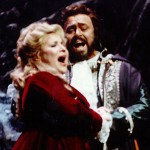Singers Aprile Millo and Luciano Pavarotti in Verdi's opera Un Ballo In Maschera, which will screen at the Essex Library Monday January 21 at 2 p.m.  (Photo Metropolitan Opera)