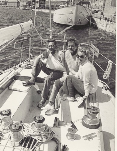 Bob and Valerie Van Houten (center and right) on the boat they sailed across the Atlantic from Essex, CT to England in 1976. They'll share the harrowing story of their adventures along with their photos at the Essex Library Tuesday January 22 at 7 p.m.. The program is free and open to all.