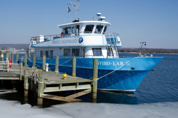 The 65 ft Enviro-Lab III owned by Project Oceanology who have partnered with Connecticut River Museum to offer the Eagle Watch trips