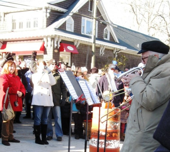 The New Horizons Brass Ensemble performs as part of the Essex Groundhog Parade where special tribute was given to the 30th anniversary of the Community Music School.