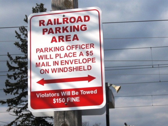 Railroad Parking Area sign
