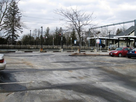Empty parking spaces at the pay for parking area