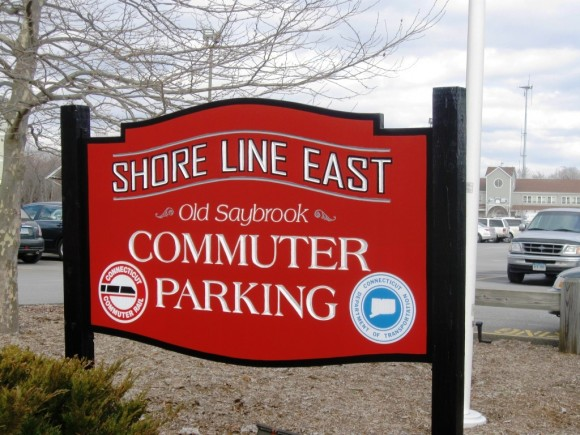 Colorful sign for Shore Line East Commuter Parking