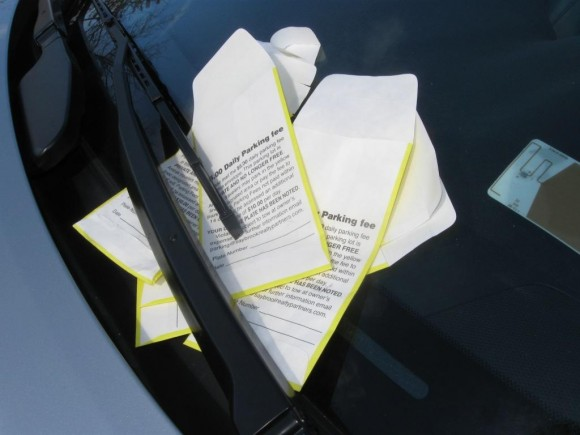 Collection envelopes can pile up under windshields