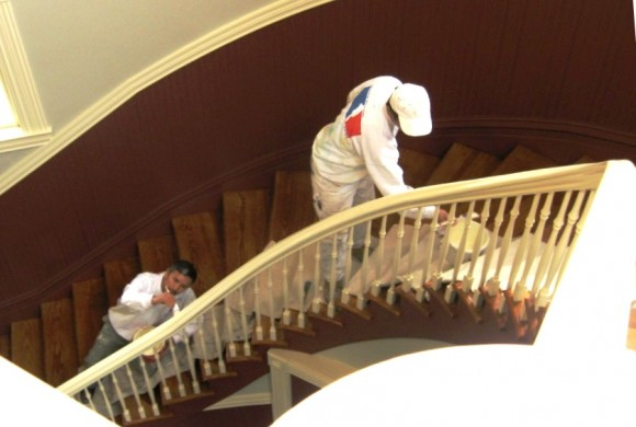 Painters are busy sprucing up the newly restored Deep River auditorium
