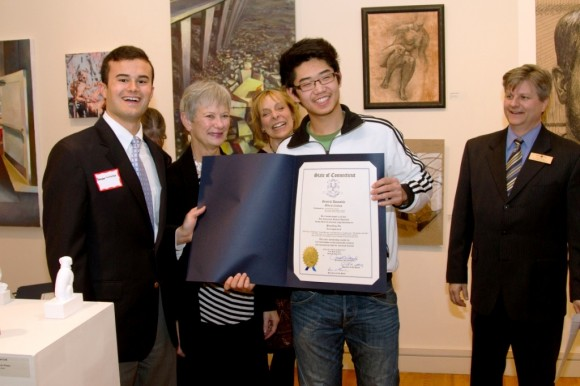 from left to right:  Sen. Art Linares, Future Choices Co-Chair Kathleen Bidney-Singewald, Future Choices Co-Chair Ruth Baxter, student award winner Dai Yongzheng of Westbrook-based Oxford Academy, and Shoreline Arts Alliance Executive Director/CEO Eric Dillner.