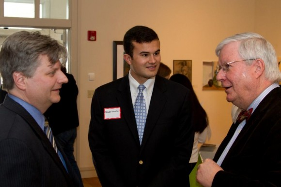 Shoreline Arts Alliance Executive Director/CEO Eric Dillner, Sen. Art Linares, and Lyme Academy of Fine Arts President Scott Colley chat prior to the awards ceremony.