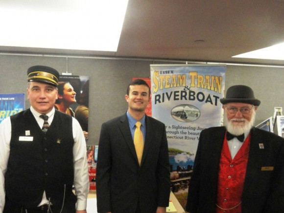 Sen. Art Linares (center) welcomed FVRR Treasurer Bob Wuchert (left) and Essex Steam Train & Riverboat President Bob Bell.