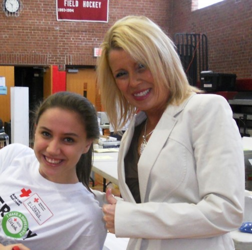 (left to right): Elsbeth Kane, Valley Regional student, and Cathy Poulin, Bob's public relations director