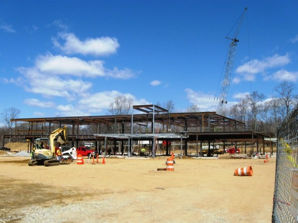 A two story frame is in place for the new emergency medical center in Westbrook