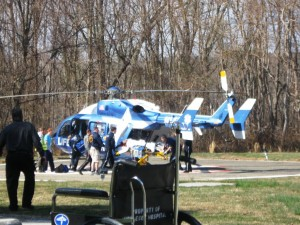 One of the gunmen involved is air-lifted from Middlesex Hospital, Essex to Hartford Hospital (photo by Jerome Wilson).