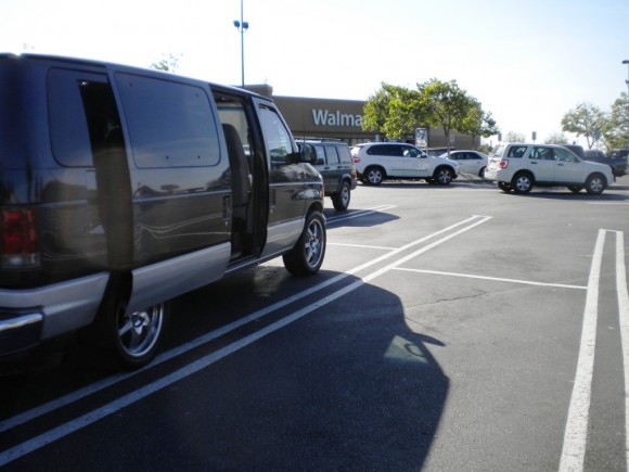 """My first overnight at a Walmart's, in Claremont, CA. That's """"Chateau,"""" my 13-year-old, 180,000-mile blue and silver beauty"""