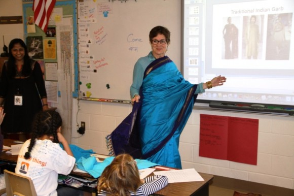 Teacher Mrs. Haut models a sari