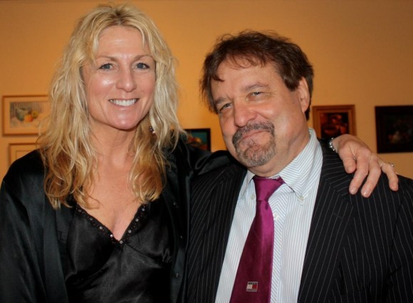 Community Music School instructor Joni Gage with Joe Bouchard of Blue Oyster Cult celebrating the school's 30th anniversary at the Pearl Twirl benefit gala   (Photo by Joan Levy Hepburn).