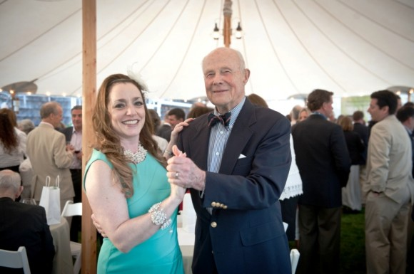 Community Music School Trustee and Event Chair Monique Heller takes a twirl with  Trustee Emeritus  Peter Bierrie at the Community Music School's  benefit gala (Photo by Joan Levy Hepburn).