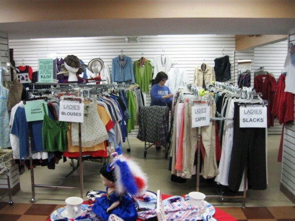 A large collection of ladies' blouses and slacks