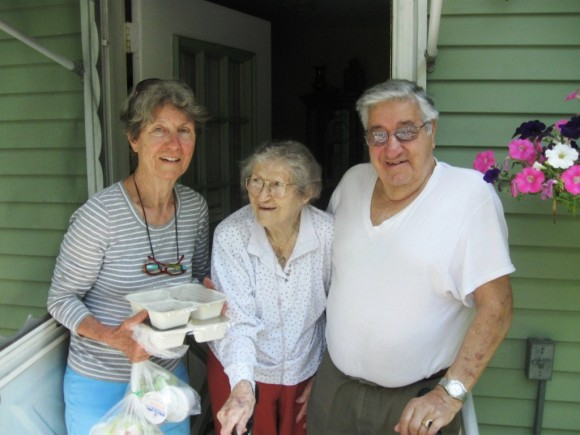 Meals delivered (left to right) Katharina Youll and recipients Ann and Thomas Perrone