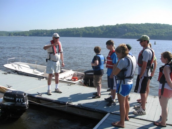 The classroom moves to the docks on the Connecticut River