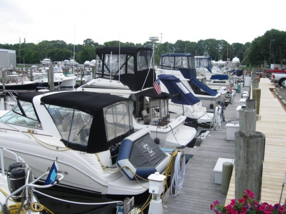 The boats packed in at Ferry Point Marina in Old Saybrook
