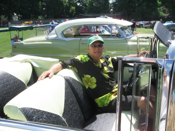 Ed Makrisch at the wheel of his 1956 Chevy Belair