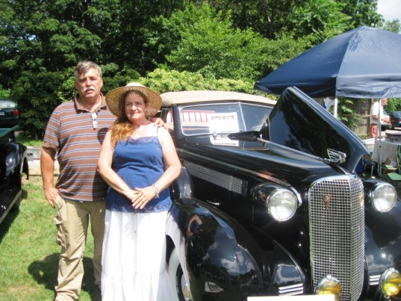 Paul Lavighe and wife, Leslee, by their 1937 Cadillac Coupe