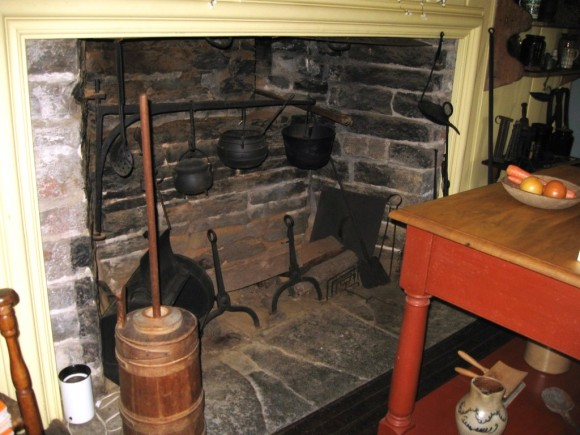 An original fireplace at Pratt House that at one time provided the only heat
