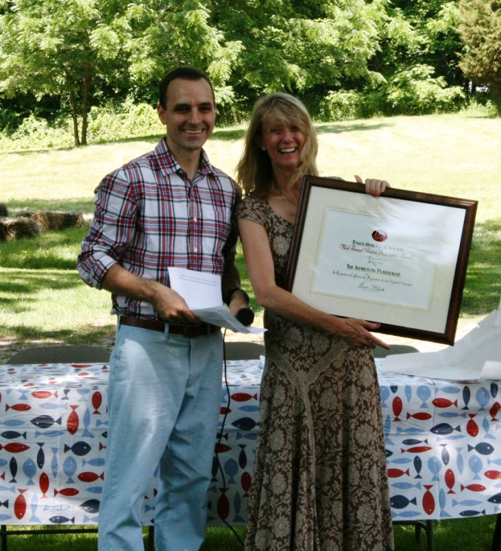 Town Historian Chris Pagliuco and Ivoryton Playhouse Artistic Director Jaqueline Hubbard with the Preservation Award Photo courtesy of Alison Brinkman)