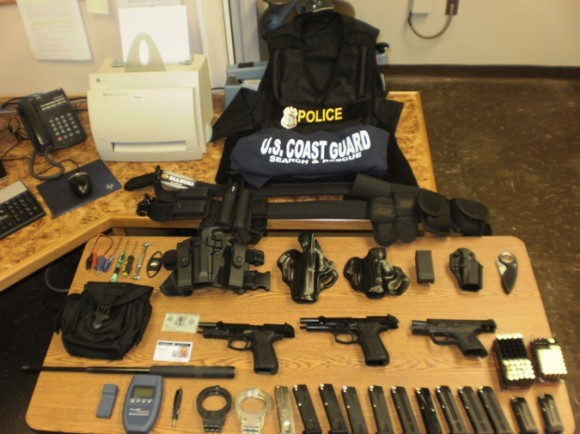 Weapons, ammunition and associated paraphernalia found and confiscated by the Old Lyme Police during the arrest of Bruce Browne at Point O' Woods yesterday.