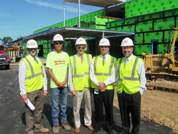 The management team directing the construction of new Westbrook center (l to r) Tim Know, Project Manager, Whiting-Turner Construction; Jack Xenelis, Xenelis Construction; Noel Bishop, Westbrook First Selectman; David Giuffrida, PE, Vice President, Middlesex Hospital; and Harry Evert, Senior Vice President of Strategy and Operations, Middlesex Hospital.
