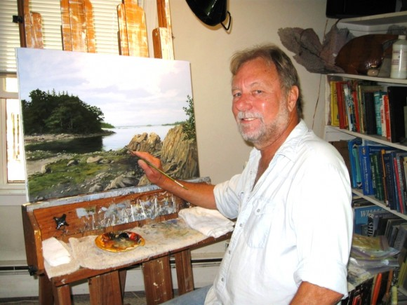 Finishing a painting of Bar Harbor, Maine. Ships in the cove will be added.