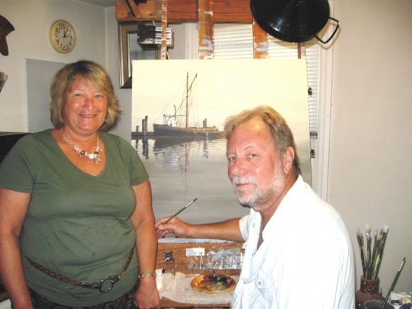 Sabol's wife, Janice Quinn, and the artist Sabol with a work in progress in background
