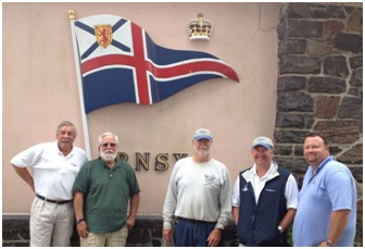We made it!  Bluebird's crew outside the Royal Nova Scotia Yacht Squadron in Halifax: (L to R):  Carl Ordemann (Larchmont YC), Jim Francis, Terry Stewart, Harry Bird (Essex Corinthian Yacht Club), and Ed Remillard (Essex Yacht Club).